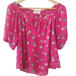 Hollister Sheer Floral Pink Tunic Top Blouse Sz M